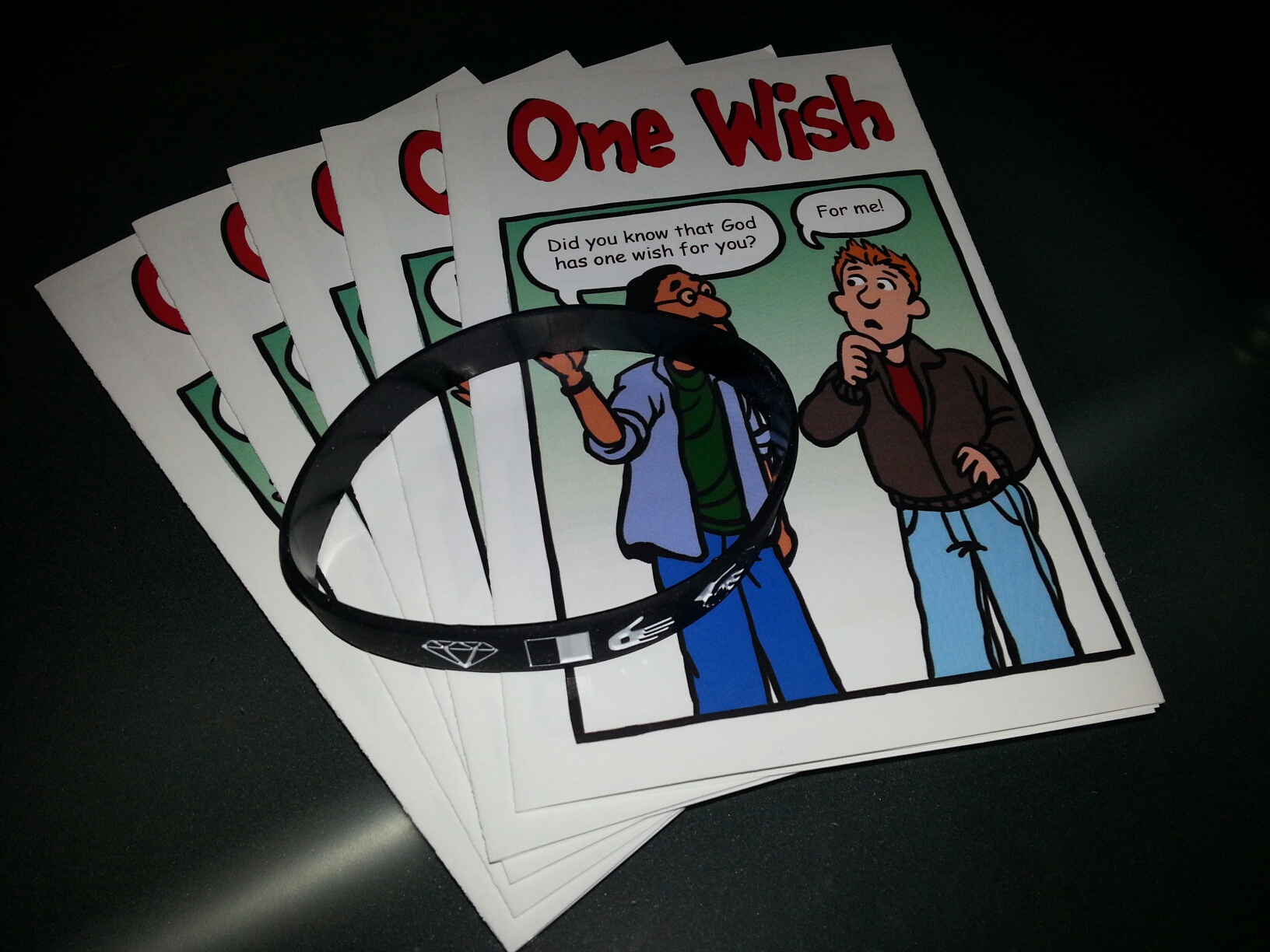 5 One Wish tracts and a Wristband = $2.00